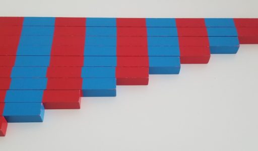 Barras rojas y azules Montessori