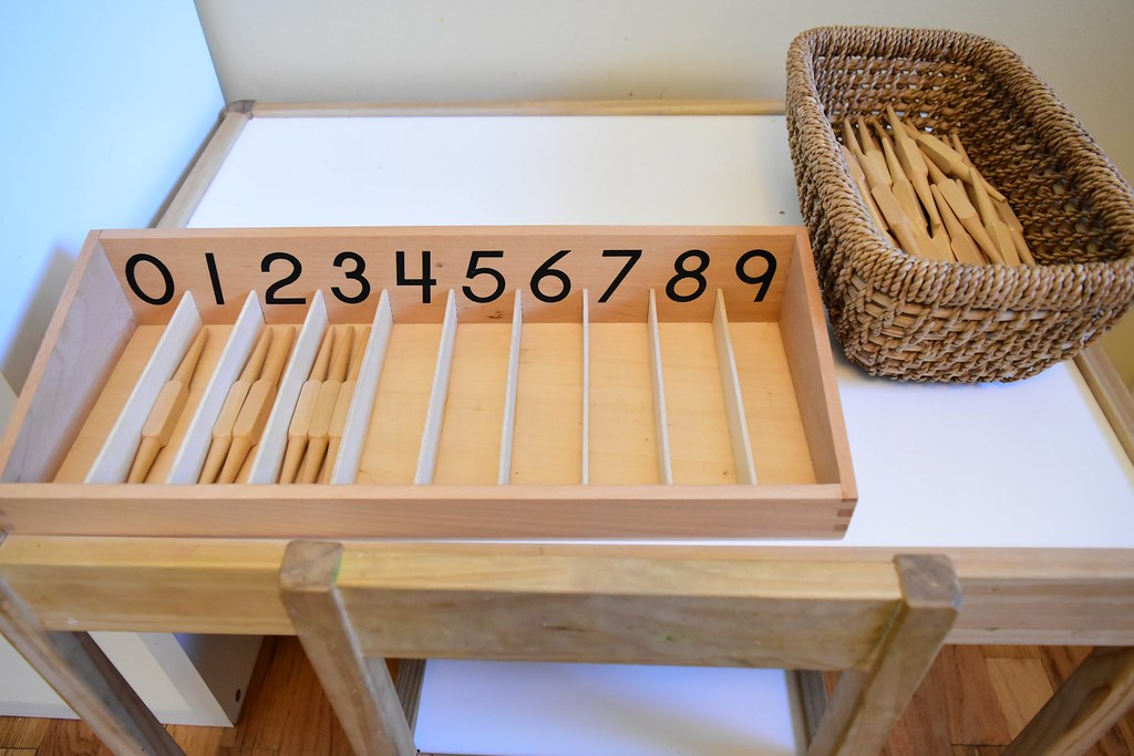 Montessori Materiales matemáticas: caja de husos