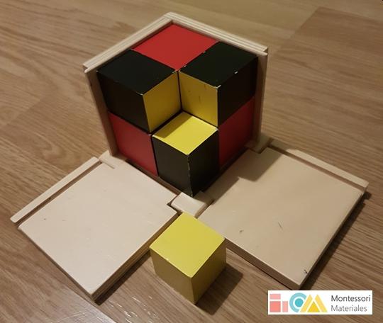 Cubo binomio Montessori - material matemáticas