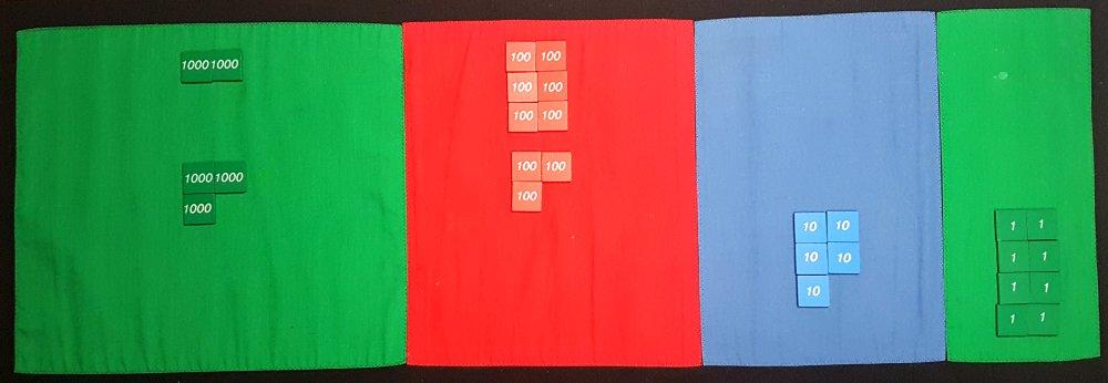 Juego de las estampillas Montessori: suma sin llevadas, juntando estampas