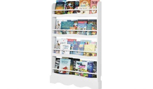 Homfa Librería infantil para niños con 4 estantes blancos