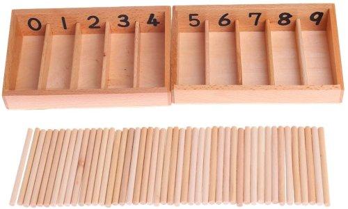 Juguete Educativo, Caja de husillo de Madera Montessori 45 husos matemática contando - certylu