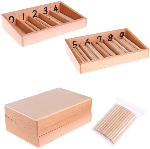 Qiuxiaoaa Montessori Toys For Toddlers-Montessori Caja de husillo de Madera 45 husillos Matemáticas Contando Juguete Educativo