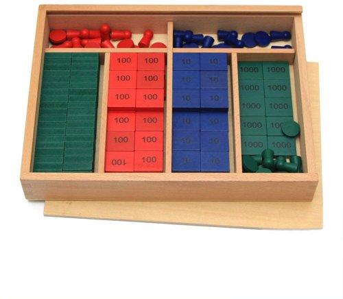Montessori Juego de estampillas de Madera, Herramientas de enseñanza de matemáticas Herramienta de Aprendizaje temprano para preescolares - Wumudidi