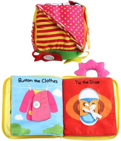 Juguete Montessori Cubo de Vestir con Libro de Tela Suave Juguete de Cognición para Bebés de Primera Infancia